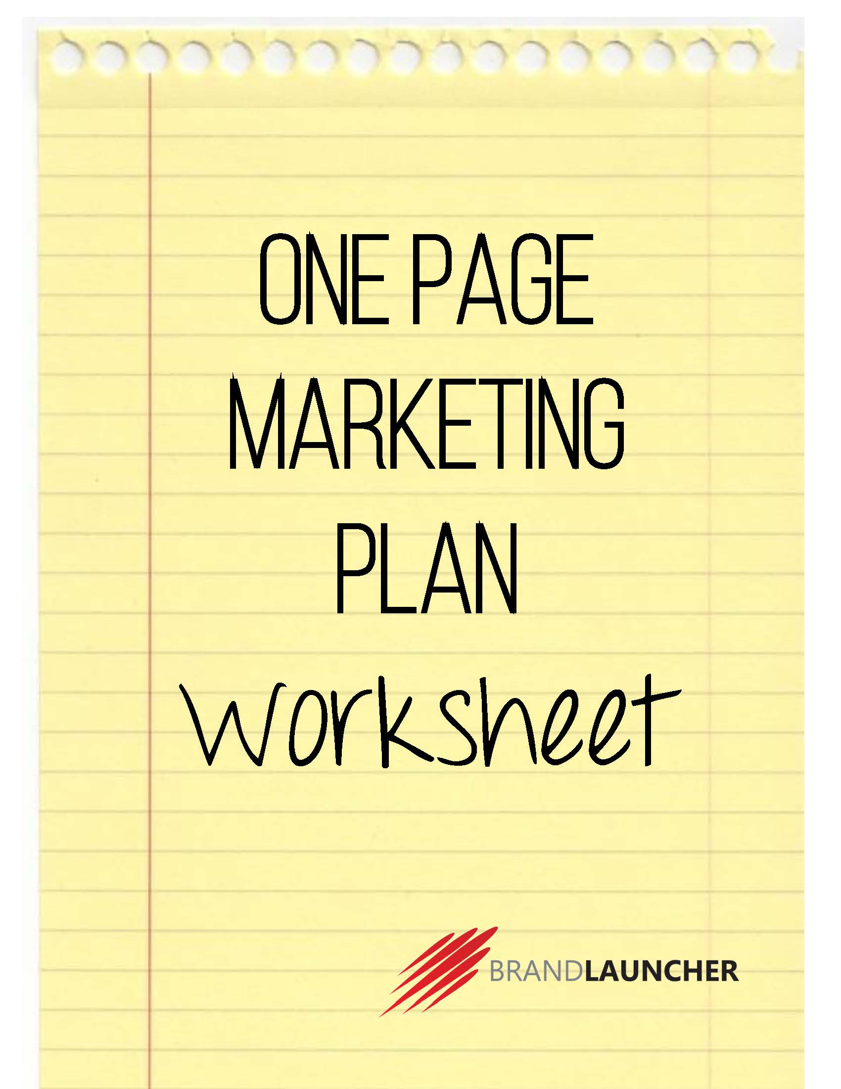 marketing plan work sheet
